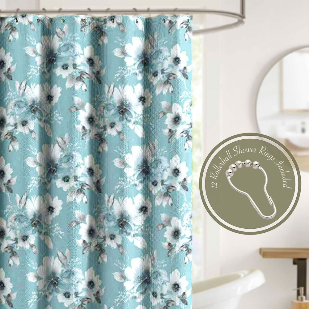 Crest Home Cassandra Blue Floral Fabric Shower Curtain Set With 12