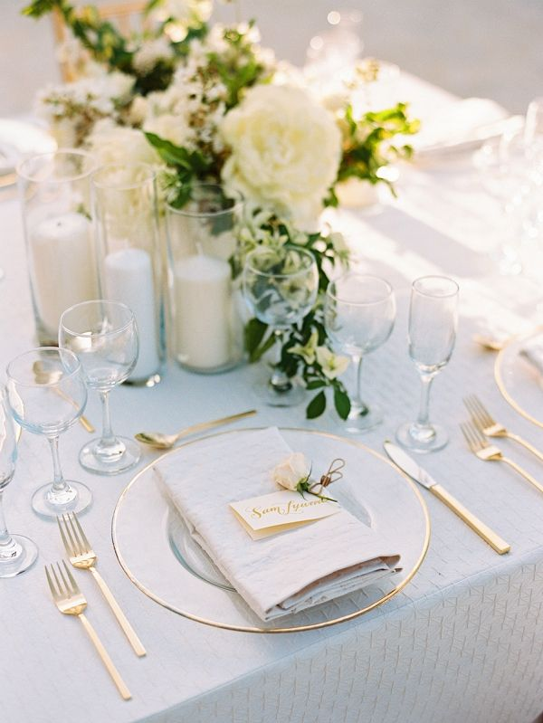 Elegant place setting in a neutral palette | Intimate Dominican Republic Destination Wedding From Ryan Ray Photography
