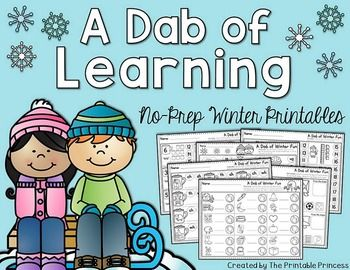 This product is now part of a BUNDLE: A Dab of Learning {NO PREP} Year Long BUNDLE. Plus, you'll find two FREEBIES in there! :) This file contains 37 no-prep literacy and math pages.