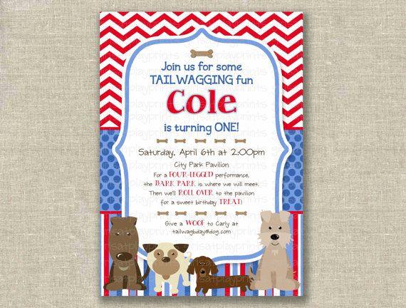 Boy 1st first Birthday Invitation Invite Dog Puppy by girlsatplay