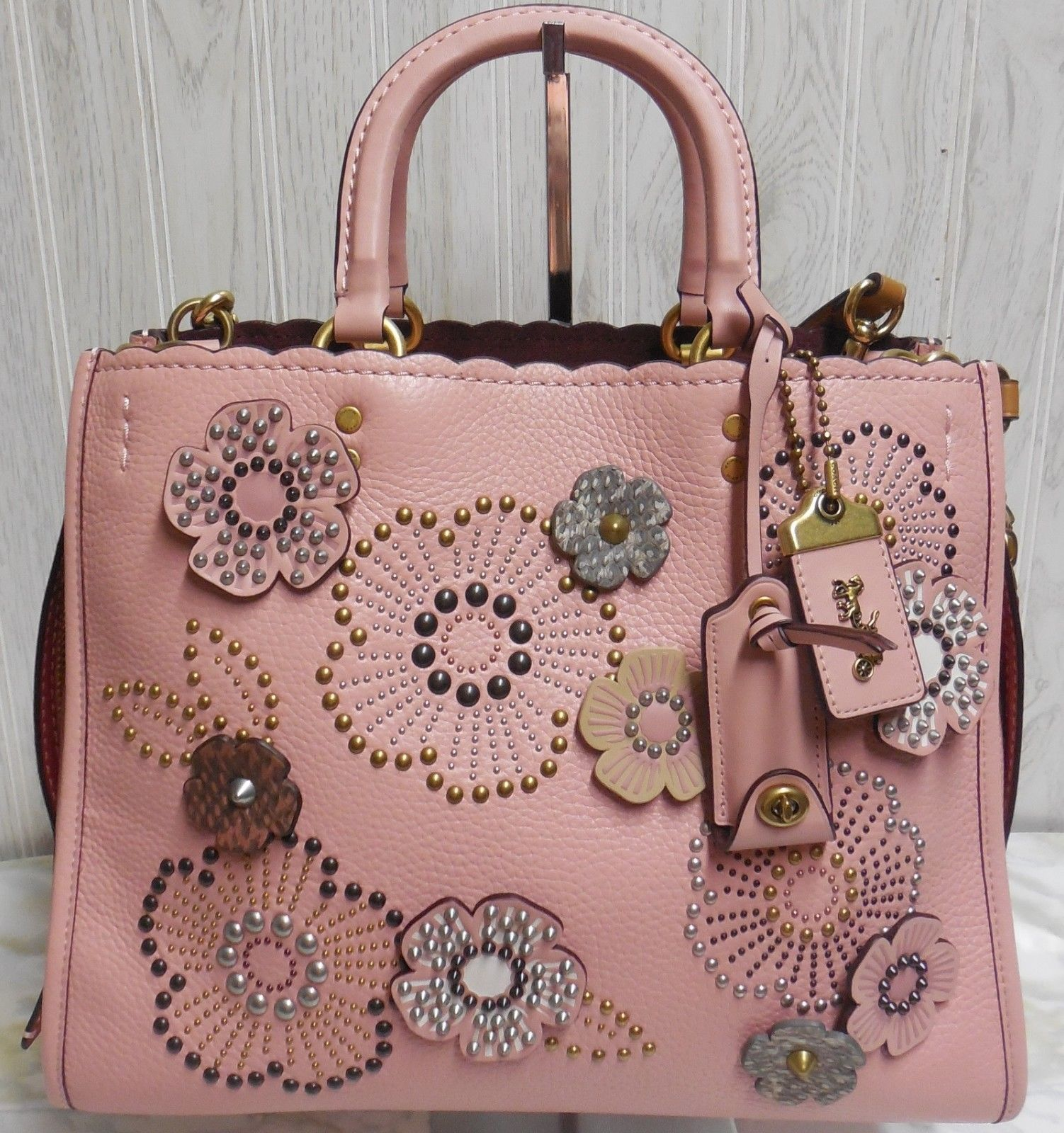 4c492ce01c NWT Coach 1941 Rogue With Snakeskin Tea Rose Rivets in Pebble Leather 26890