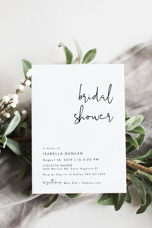 ADELLA | Modern Minimalist Bridal Shower Invitation Template, Simple Editable Bridal Shower Invite, Instant Download DIY Printable Invite