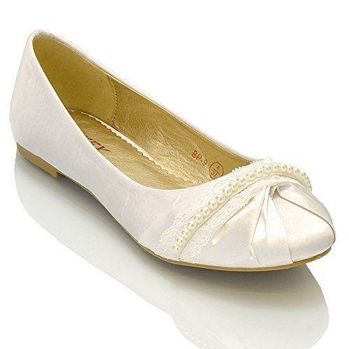Essex Glam - Damen Ballerinas Mit Perlen & Spitze - http://on-line-kaufen.de/essex-glam/essex-glam-damen-ballerinas-mit-perlen-spitze