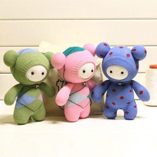 DIY Bastelideen: # 12 Socken gemacht Tier Kuscheltiere für Kinder - ... #dollscouture