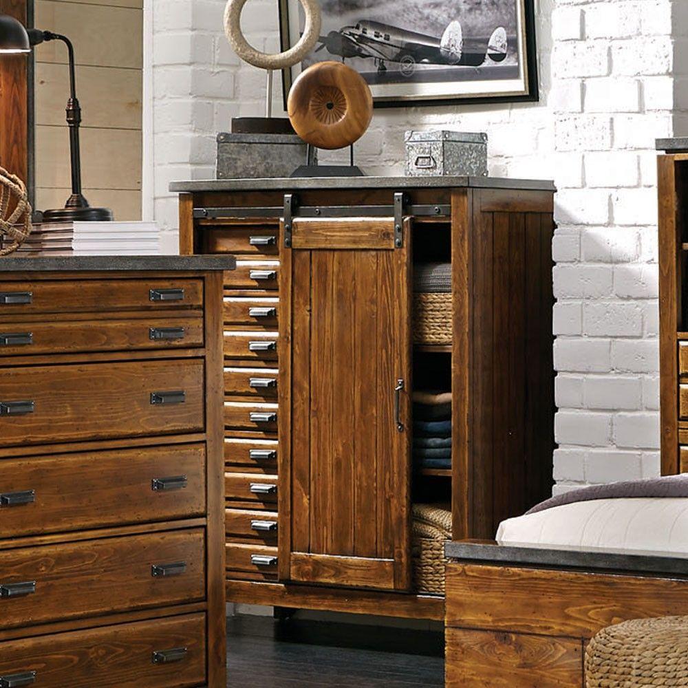 Aspenhomeus rockland wood five drawer one door chest in worn tobacco