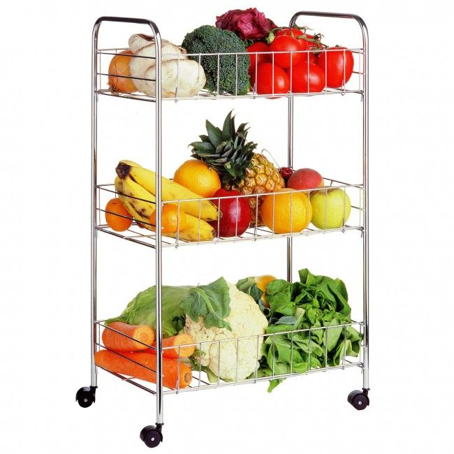 Organize Your Kitchen With 3 Tier Storage Cart Durable Lightweight Easy To Manoeuvre Http Bit Ly 1fke Kitchen Cart Vegetable Rack Kitchen Storage Trolley