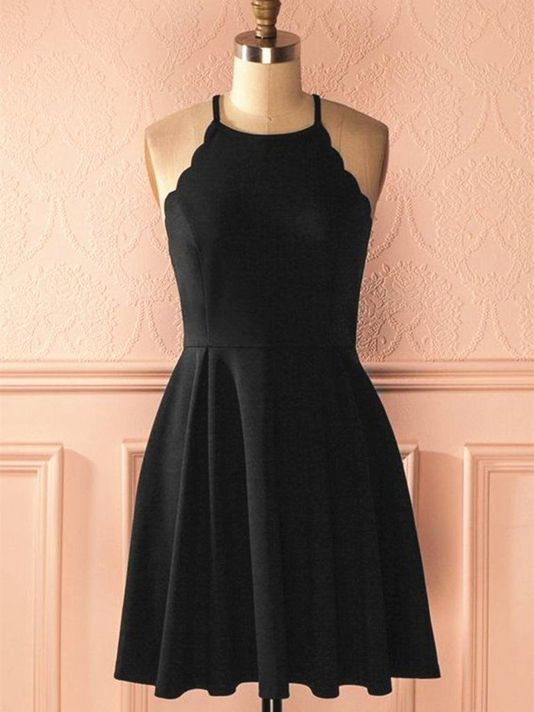 A line halter neck short black prom dresses black formal dresses