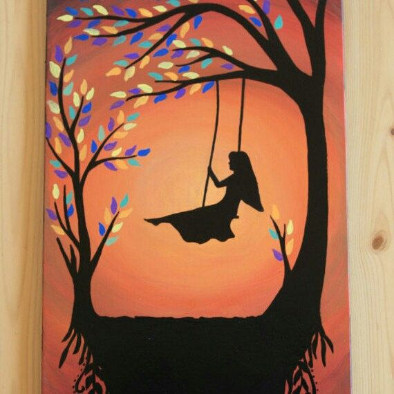 Rustic Landsacpe Children On Swing Painting Canvas Wall Art Picture Print