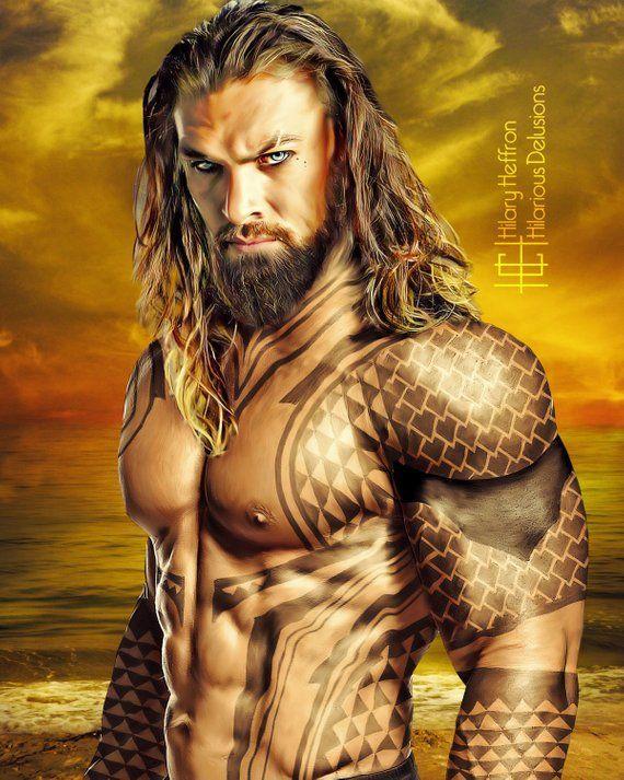 Aquaman Tattoo Design: Aquaman Tattoo Portrait Digital Painting Print, Justice