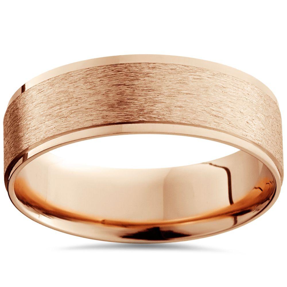 6MM Brushed Mens Wedding Band 14K Rose Gold Mens gold