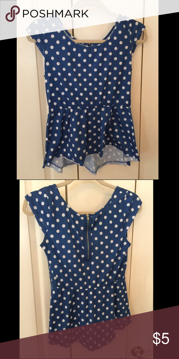 polka dot peplum top with gold zipper! ADORABLE retro peplum tshirt with exposed gold zipper in the back Tops Tees - Short Sleeve