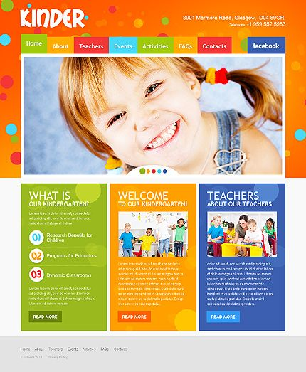 Template 35143 - Colorful Kindergarten & Preschool HTML5 Website ...
