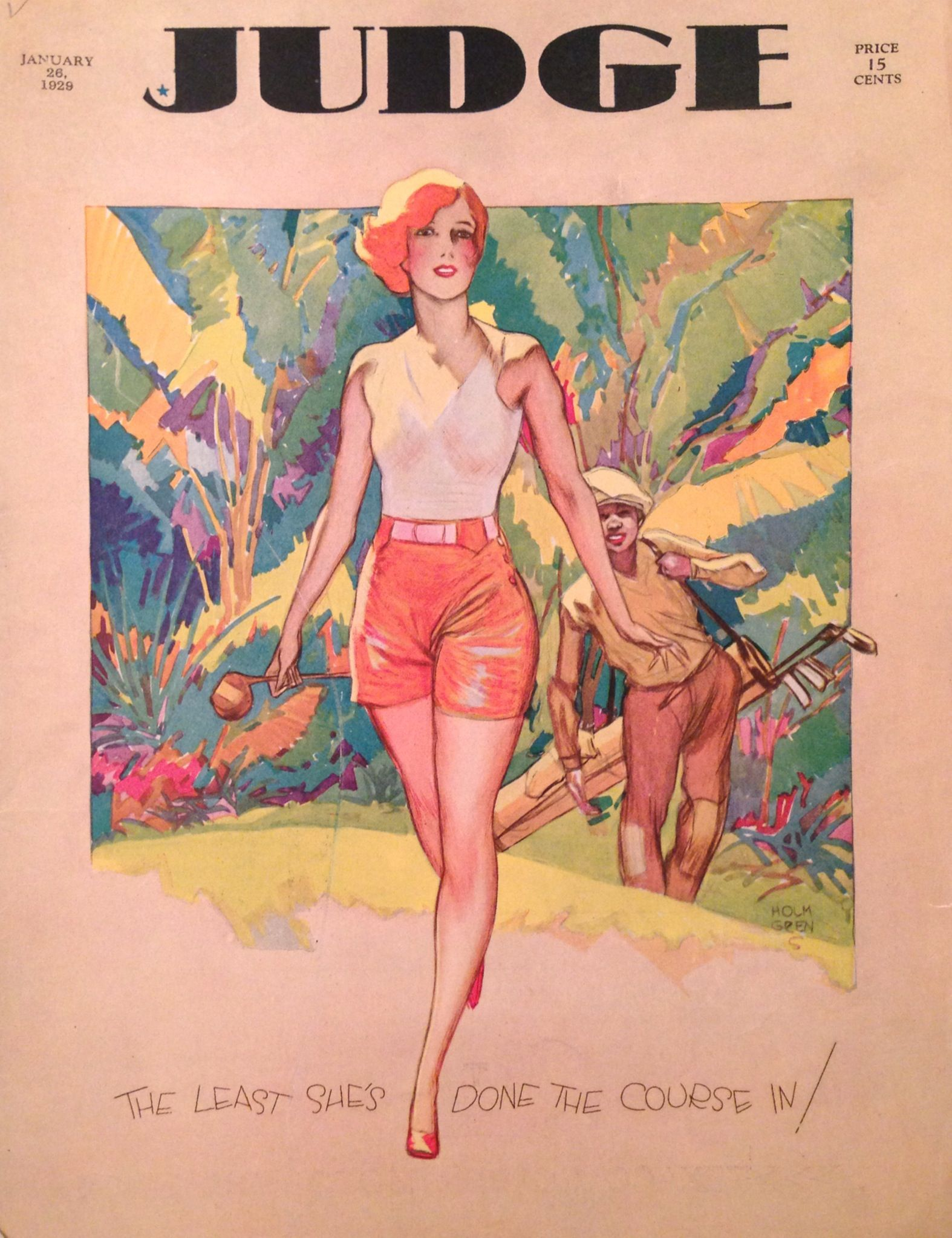 Color art magazine - Golf Color Art Deco By Holmgren Woman Golfer And Her Caddy Clubs On Golf Course