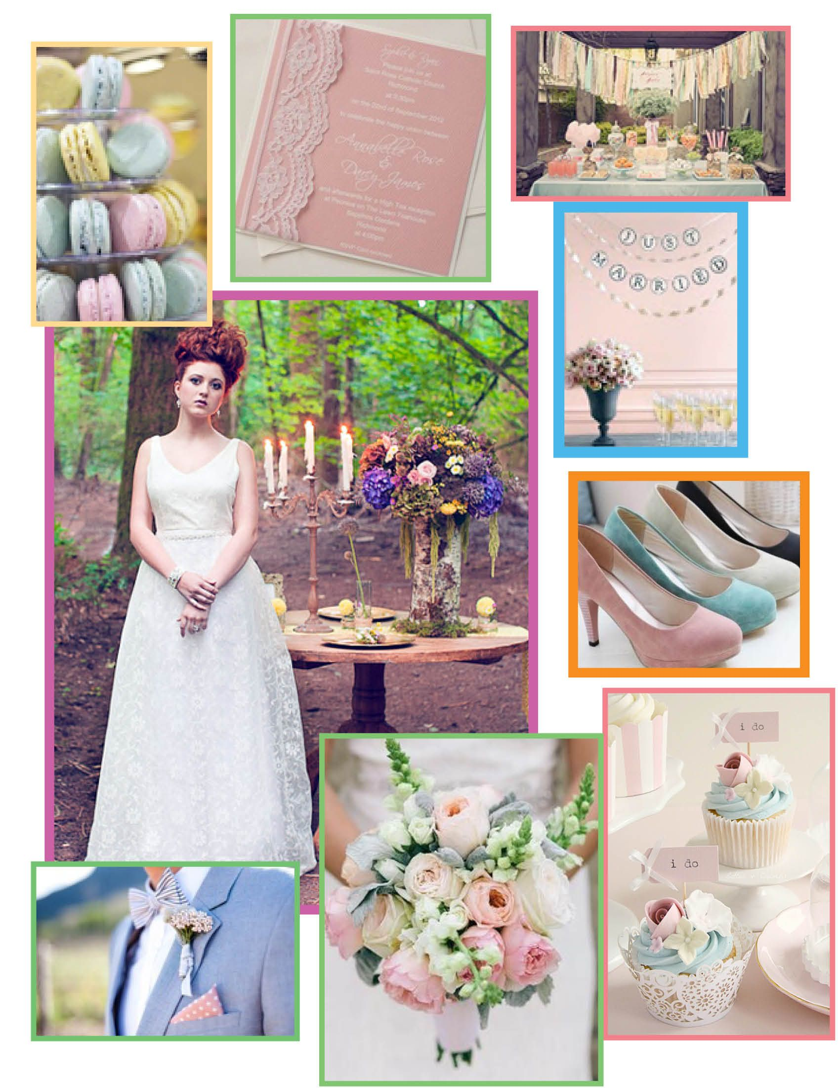 Perfect theme for a spring wedding or even Easter 2014! Pastels are a perfect whimsical setting your special day!  http://www.puremagnolia.ca/wp-content/uploads/2013/03/Pastel-Weddings1.jpg