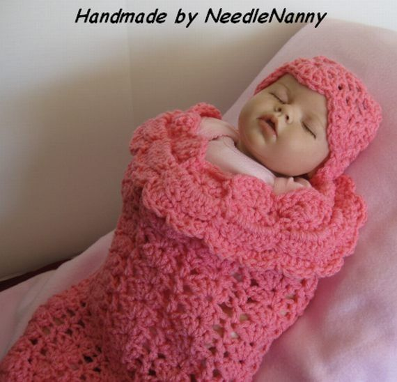 crocheted+baby+cocoon | Crochet Baby Cocoon Bubble Gum Pink Swaddle ...