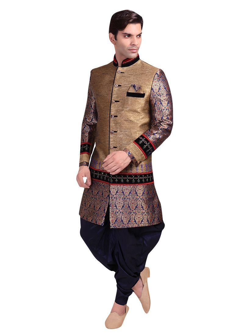 ad7014dd4b Cbazaar Brown Brocade Indo western Patiala Style Sherwani | Men's ...