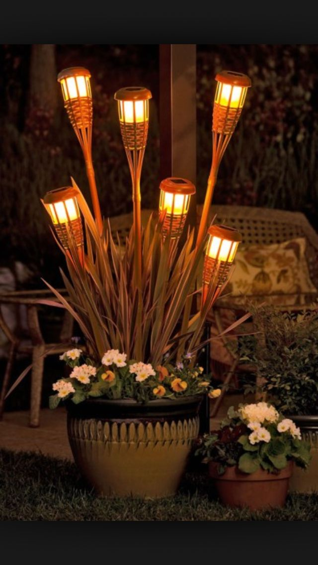 Solar Tiki Planter Great Idea For Inexpensive Outdoor Lighting