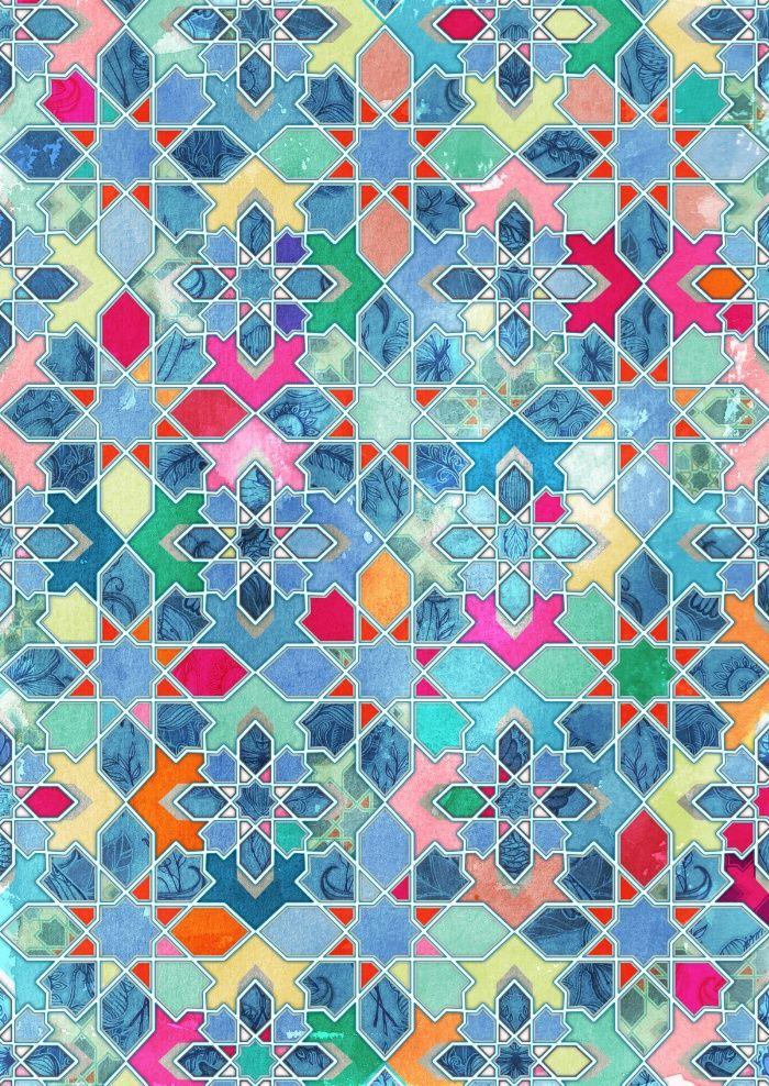 Pretty Pastel Moroccan Tile Mosaic Pattern Art Print