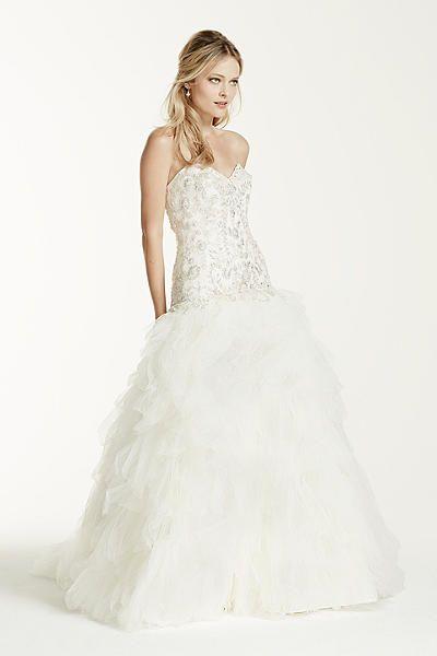 Cute Tulle Drop Waist Wedding Dress with Ruffle Skirt XLV