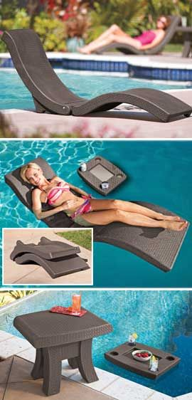 Floating Chaise Lounge And Floating Table Work In Or Out Of The Pool Pool Furniture Pool Lounge Pool Accessories