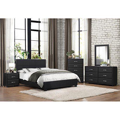 Best Lancaster 5 Piece Queen Bedroom Set In Black Vinyl Bed 400 x 300