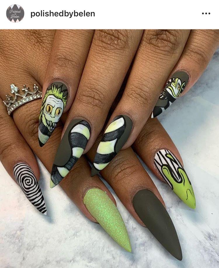 Beetle Juice Nails Halloween Nail Designs Beautiful Nails Bling Nails