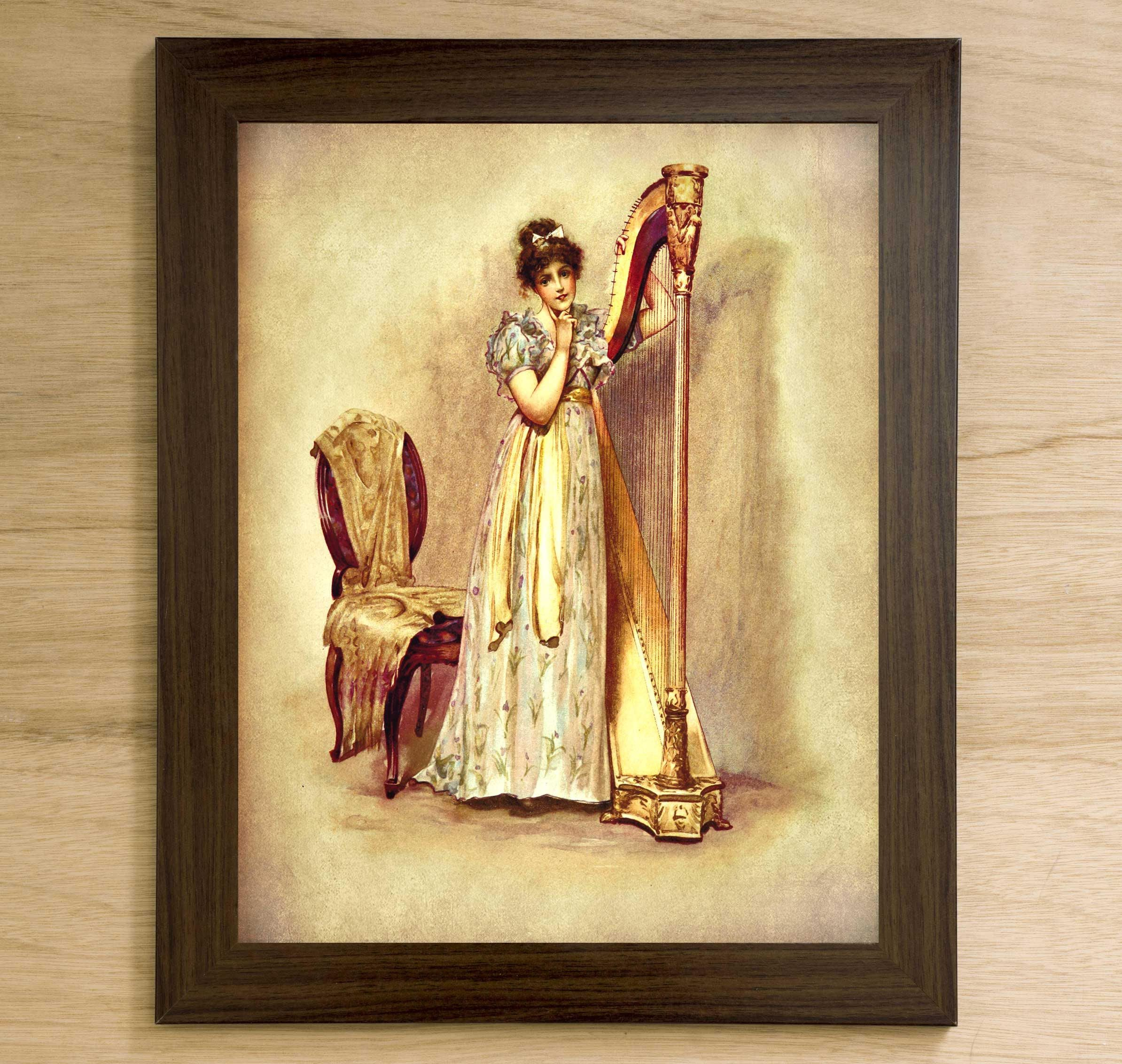Musician gift, Girl playing harp, Wall art Print, Instant download ...