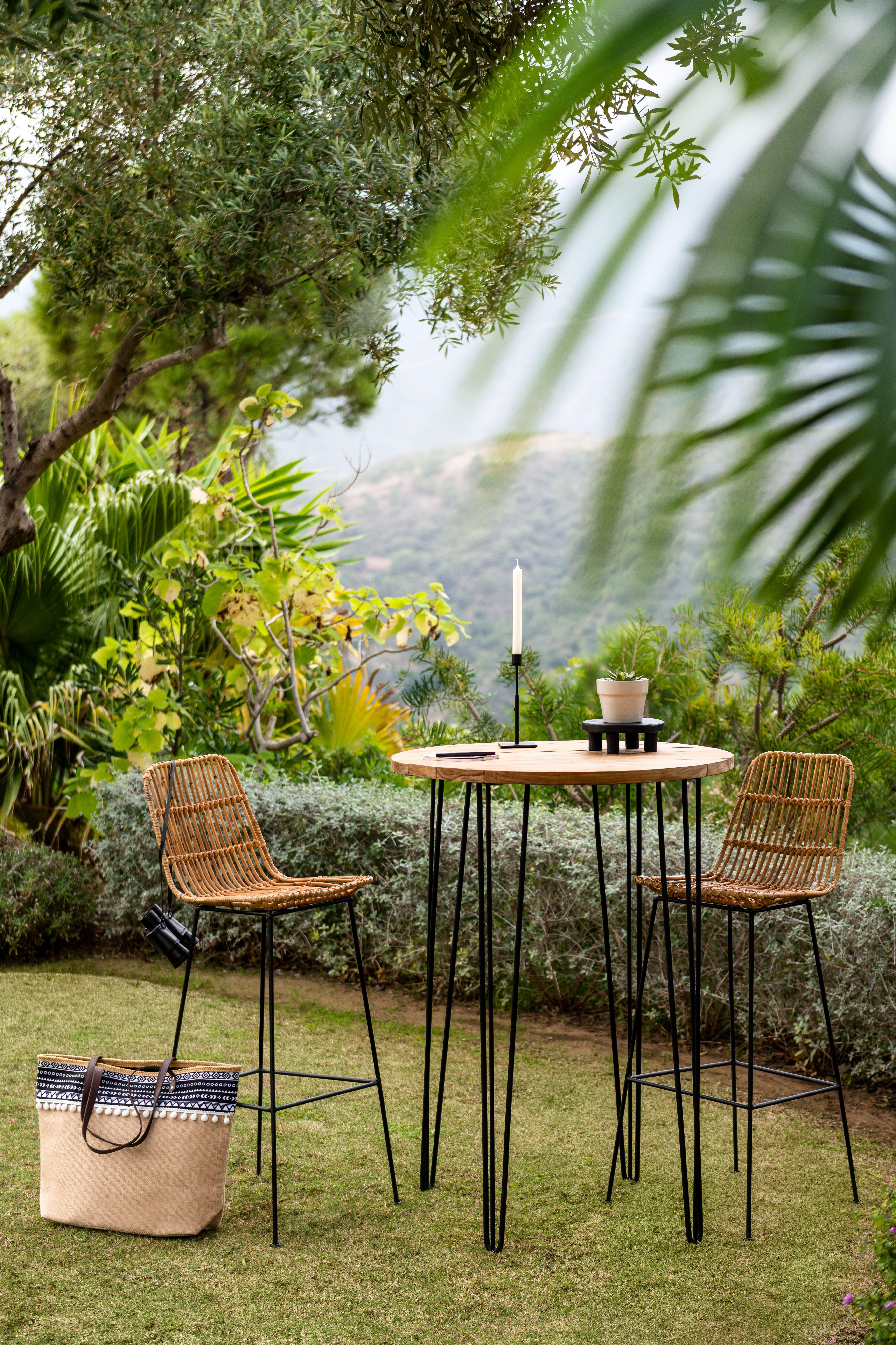 Soldes 2020 Table Haute Sumatra Noire Et Naturelle Table De Jardin Mobilier De Jardin Jardin Et Plein Air Gifi Mobilier Jardin Decoration Jardin Mange Debout Exterieur