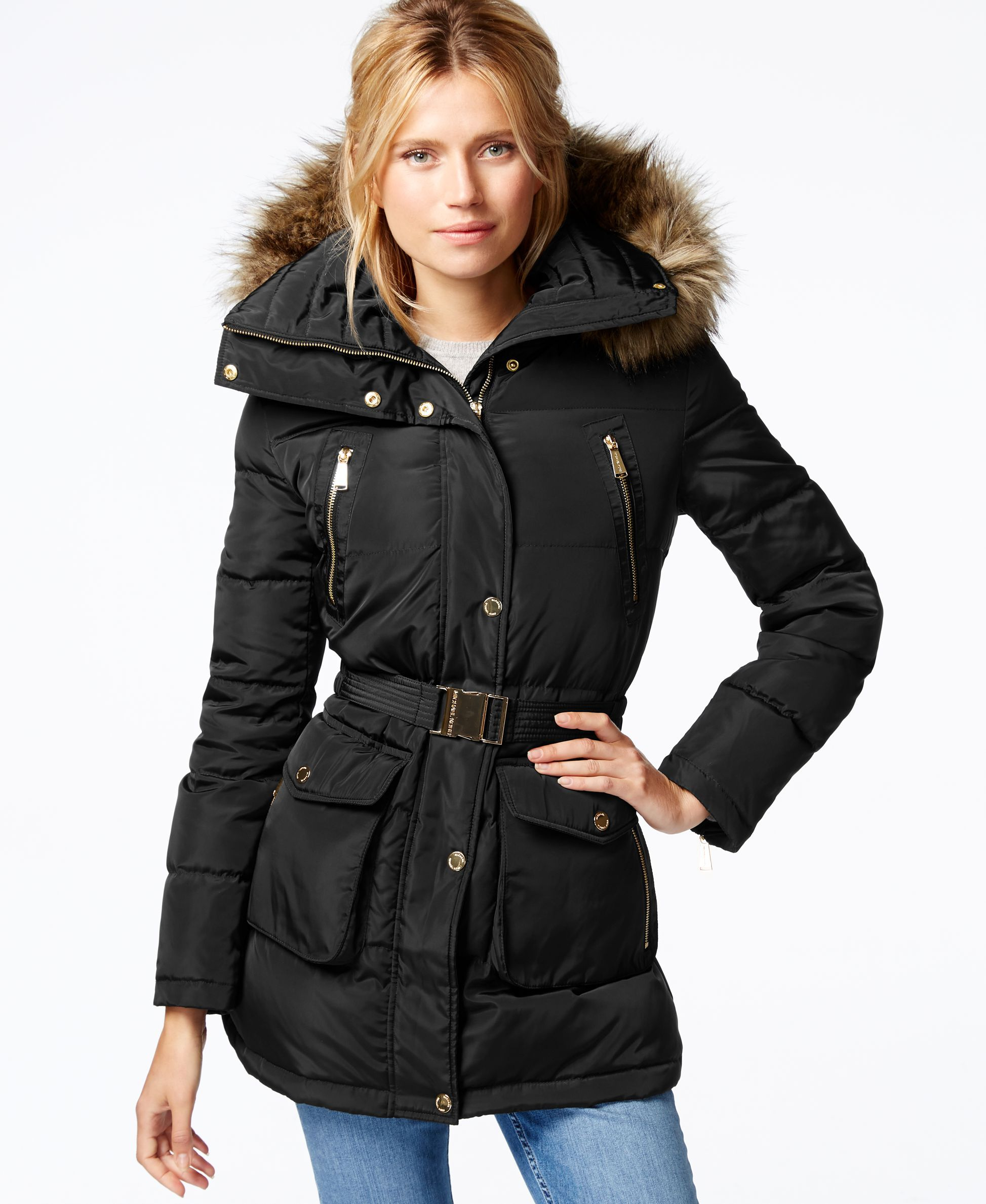 02e00bb065 MICHAEL Michael Kors Faux-Fur-Trim Belted Coat - Coats - Women - Macy's