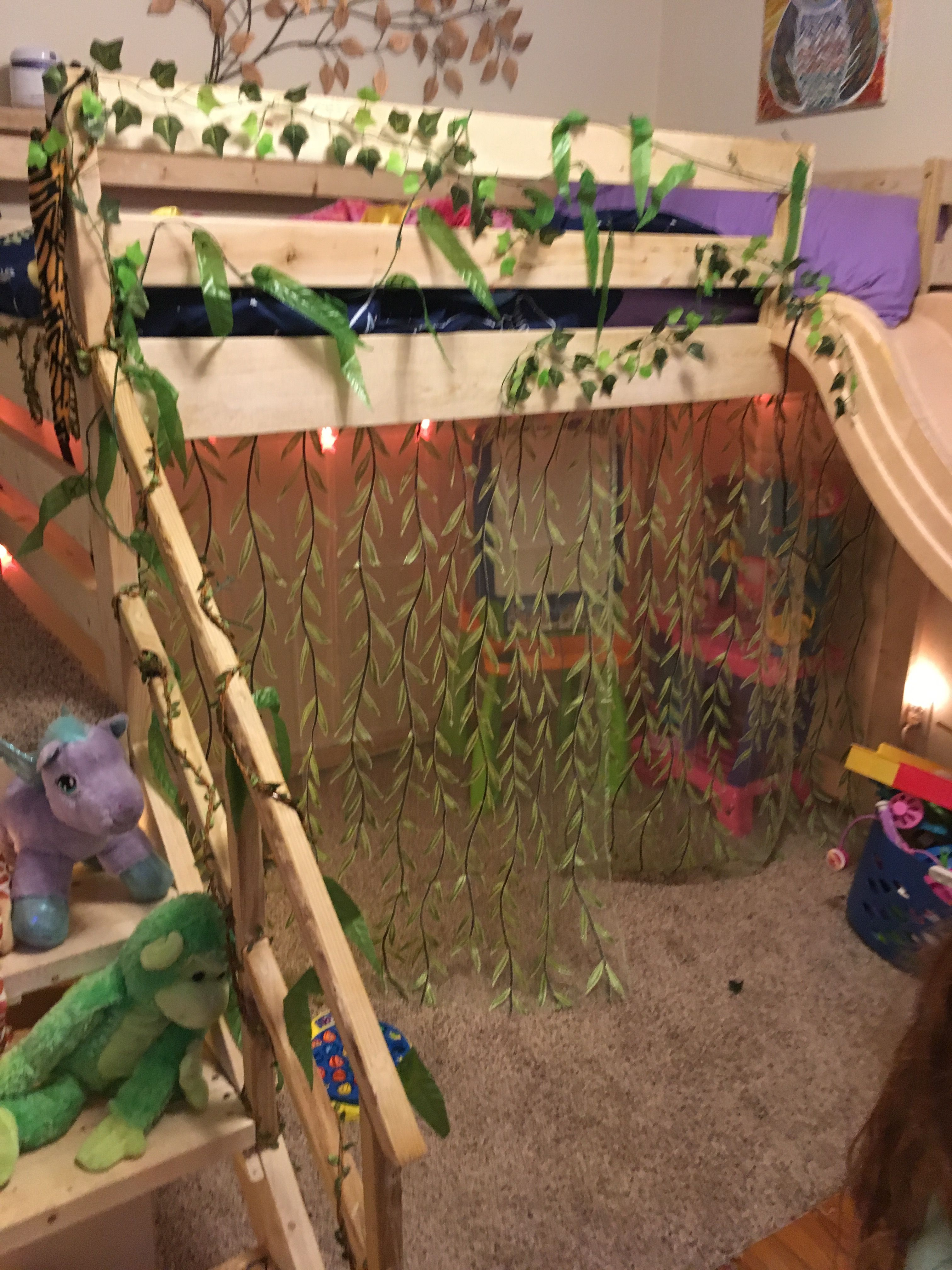 Fairy room loft bed with sliding board Fairy room, Bed