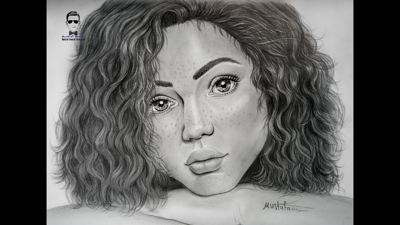 تعليم رسم بورتريه بالرصاص لفتاة سمراء مع الشعر المجعد Youtube How To Draw Hair Female Sketch Drawings