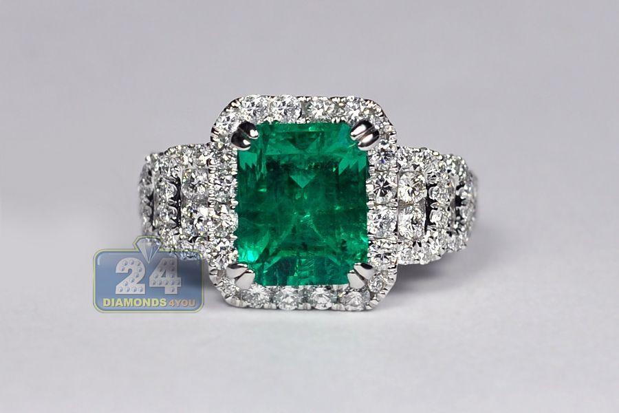 18K White Gold 4.44 ct Emerald Diamond Womens Ring in 2019  472352197