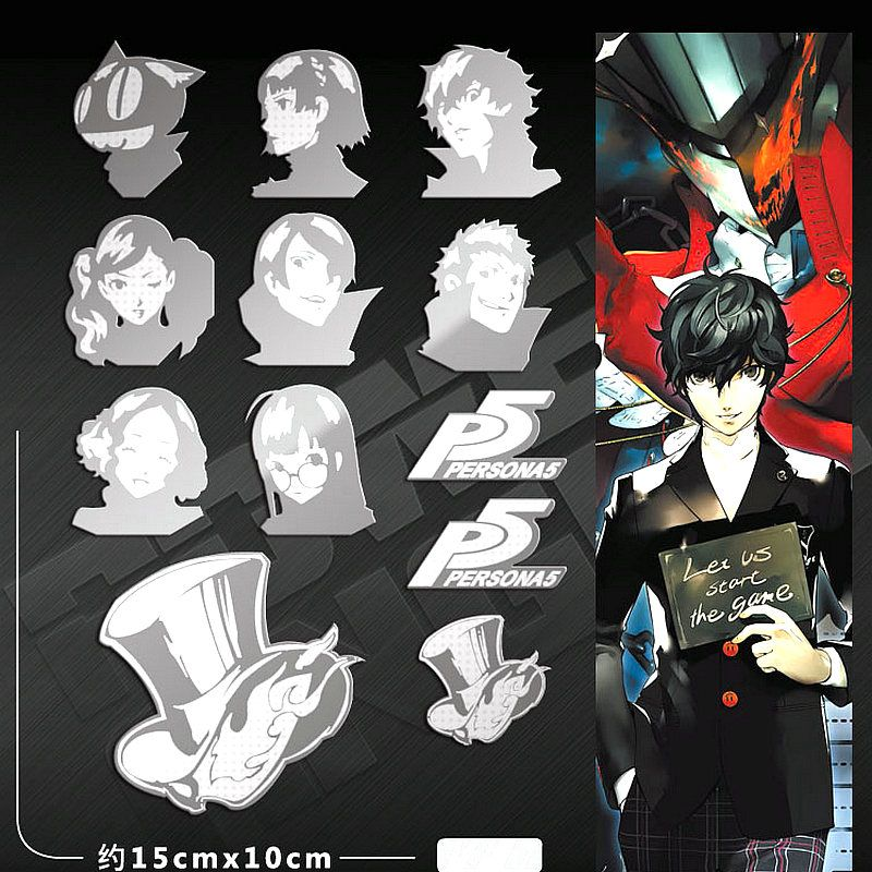 12 off powerangel luxury 3d metal sticker persona 5 anime stickers for phone