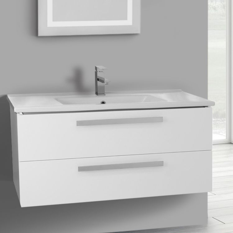 Bathroom Vanity, ACF DA31, 38 Inch Glossy White Wall Mount