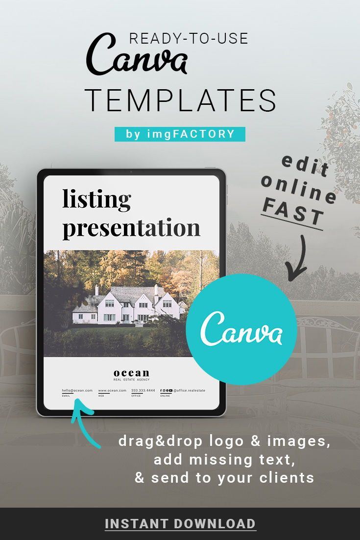 Simple and styled Real Estate Listing Presentation designed to attract potential buyers. The template is already made, just insert your logo, contact info, missing text, and home photos. Send to all of your clients or hand out at the Open House event.