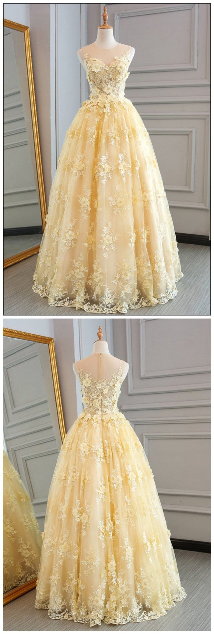 0545520e2c Long Prom Dresses Scoop A-line Floor-length Lace Sexy Yellow Prom Dress