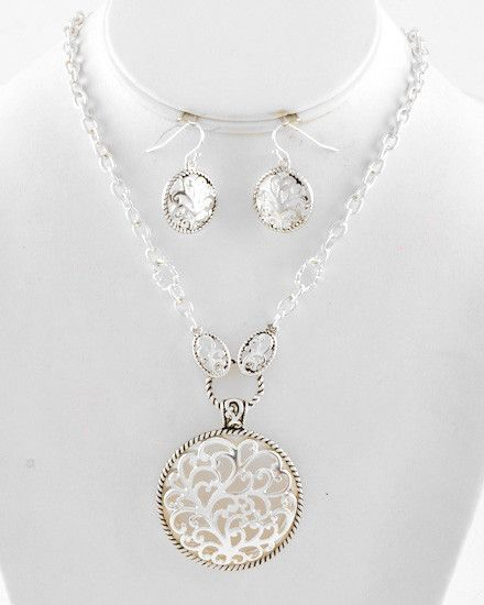 Antique Silver Toned Necklace & Earrings Set