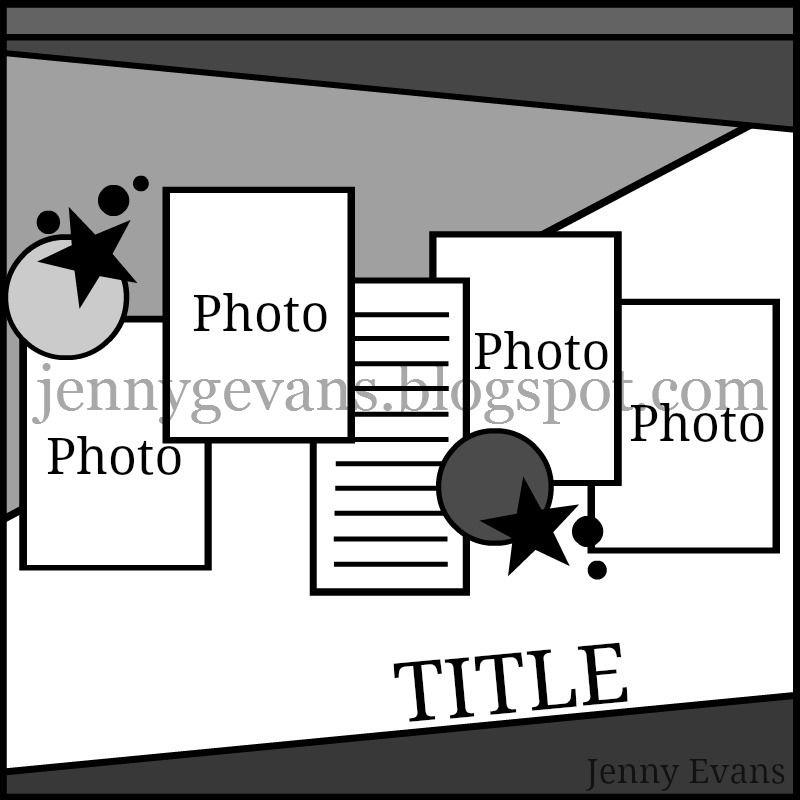 Jenny Evans layout sketch - Scrapbook.com | Scrapbooking | Pinterest