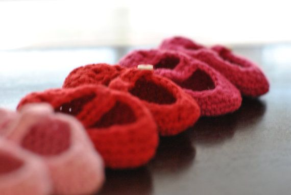 cherry red baby booties for a baby shower gift