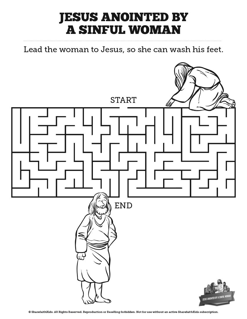 Luke 7 Woman Washes Jesus Feet Bible Mazes Can Your Kids Navigate