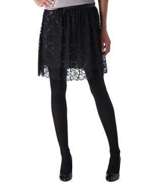 Falda de encaje negro - Promod