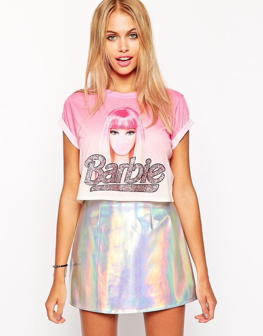 Image 1 of ASOS Cropped T-Shirt with Glitter Barbie Print