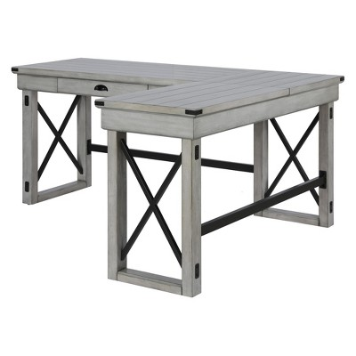 Wildwood L Shaped Desk With Lift Top Rustic White Sherbrooke