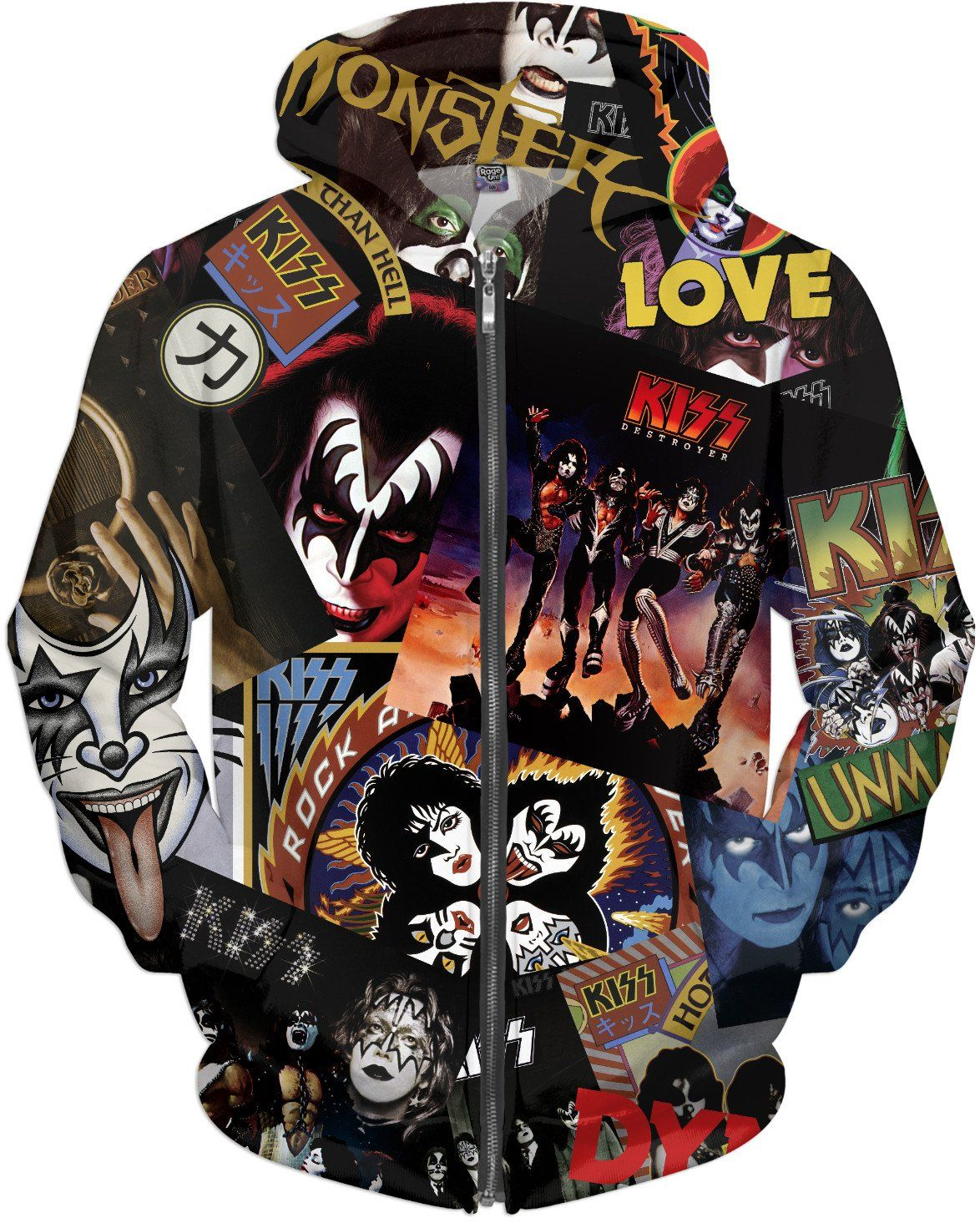 Kiss discography allover print zip hoodie kiss