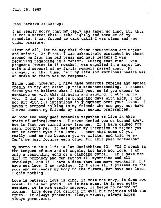 Peter Staley To everyoneu0027s surprise, Donna Summer wrote a letter - apology letter to family