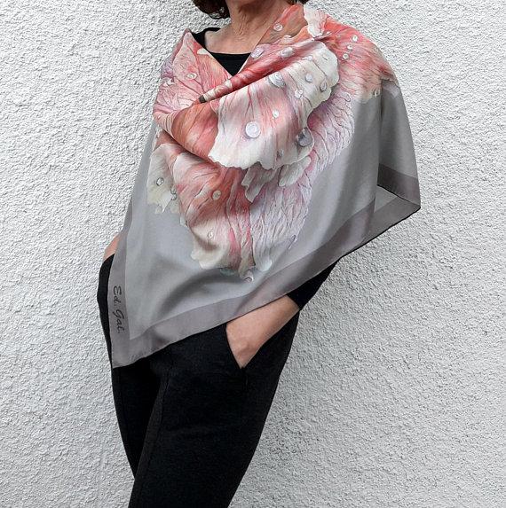 1559a028019a Square Silk Scarf Large Big Pink Flower Silver Grey Beige Wedding Shawl  Inspirational Women Gift Unu