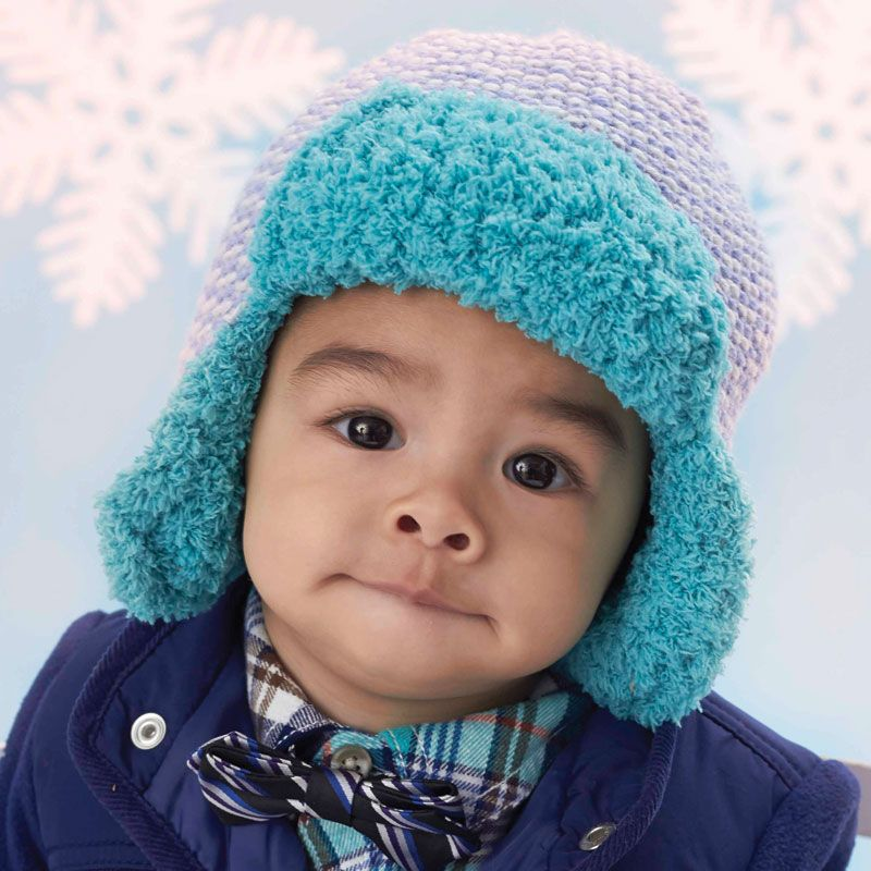 Bernat® Baby Sport and Pipsqueak™ Trapper Hat #knit #pattern ...