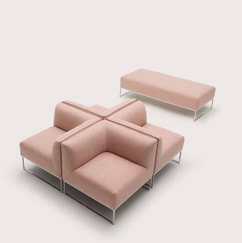 Fauteuil d'angle / design minimaliste / tapissé / luge - MELL by ...
