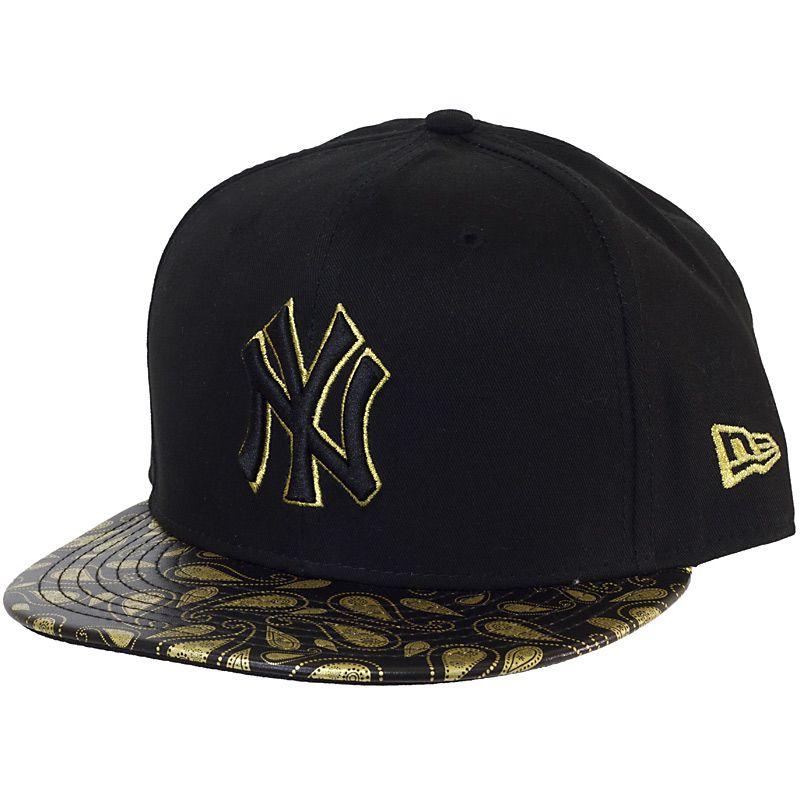 New Era Black Gold Paisley Snapback Cap Ny Yankees