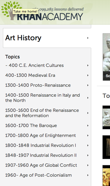 Interesting, and very short video lessons in art history, on site ...